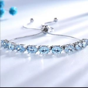 Natural Blue Topaz Bracelet Sterling Silver 925